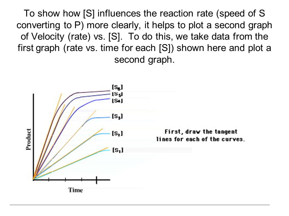 To show how [S] influences the reaction rate (speed of S converting to P) more clearly, it helps to plot a second graph of Velocity (rate) vs.